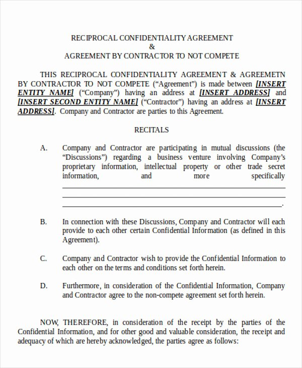 Contractor Non Compete Agreement Template Best Of 15 Sample Non Pete Agreement Free Word Pdf format Download