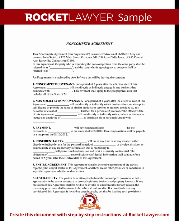 Contractor Non Compete Agreement Template Best Of Non Pete Agreement form Non Pete Clause with Sample