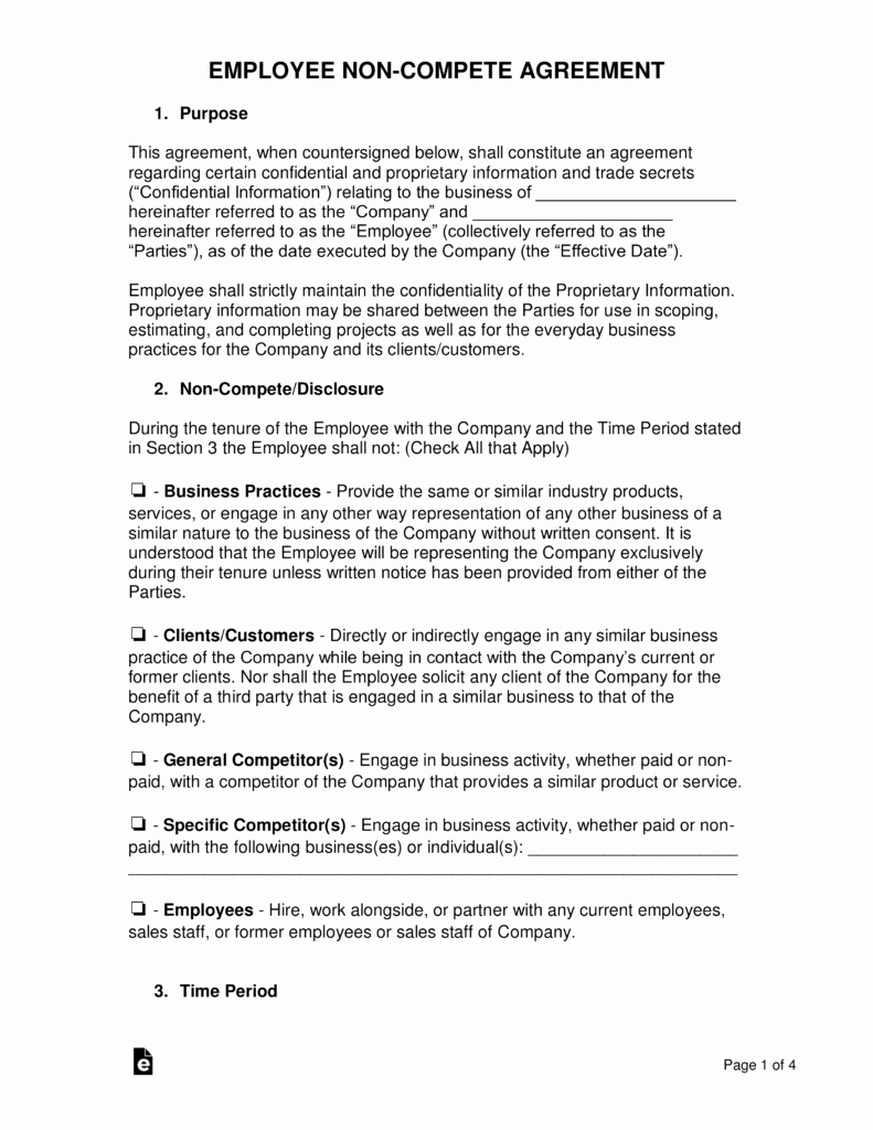 Contractor Non Compete Agreement Template Elegant Employee Non Pete Agreement Template