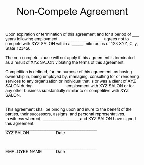 Contractor Non Compete Agreement Template Elegant Non Pete Agreement form – Emmamcintyrephotography