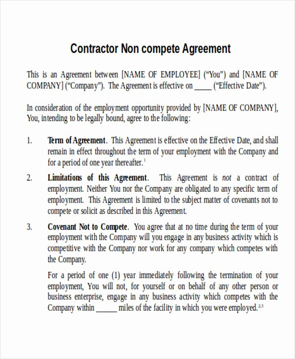 Contractor Non Compete Agreement Template Inspirational 10 Contractor Agreement Samples Examples Templates Free Sample Example format Download