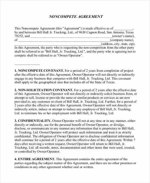Contractor Non Compete Agreement Template Inspirational 10 Contractor Non Pete Agreement Templates Free Sample Example format