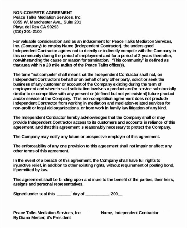 non disclosure non pete agreement template pdf word