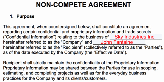 Contractor Non Compete Agreement Template Lovely Non Pete Agreement Templates