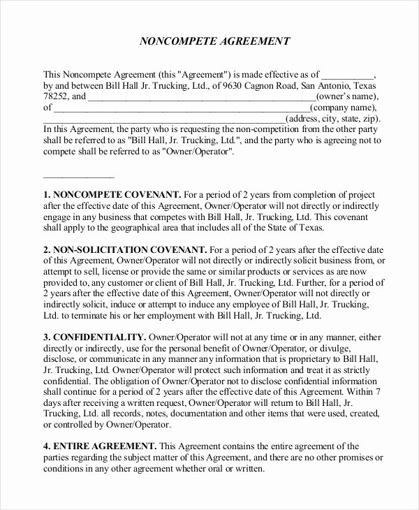 Contractor Non Compete Agreement Template New 10 Non Pete Agreement forms Free Sample Example format