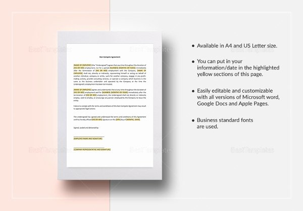 Contractor Non Compete Agreement Template New 9 Contractor Non Pete Agreement Templates Free Sample Example format