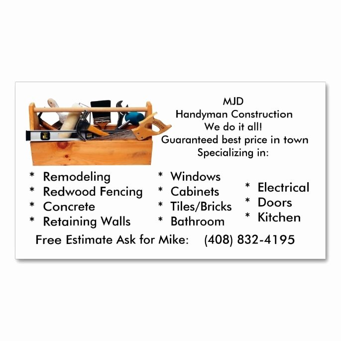 Contractors Business Cards Examples Beautiful Mjd Handy Man Business Card Zazzle Handyman Business Cards