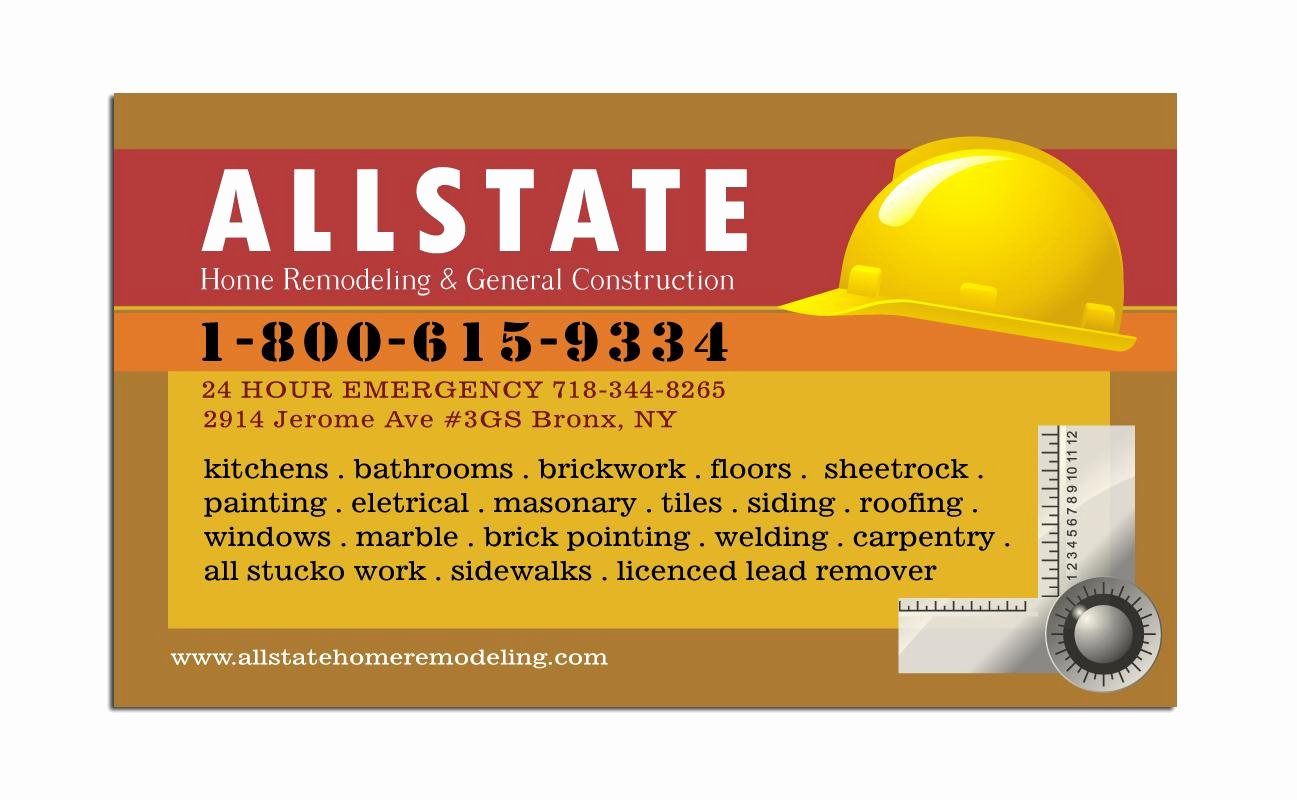 Contractors Business Cards Examples Inspirational General Construction Business Card