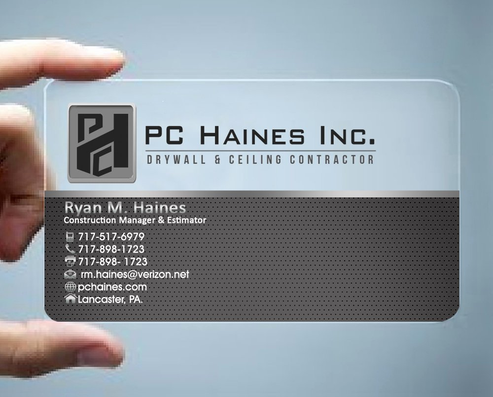 Contractors Business Cards Examples Unique Construction Business Card Design for Pc Haines Inc Drywall & Ceiling Contractor by Hardcore