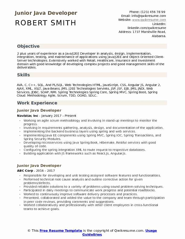 Core Java Developer Resume Beautiful Spring Boot Sample Resume