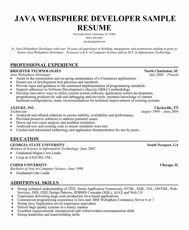 Core Java Developer Resume Best Of Java Developer Resume