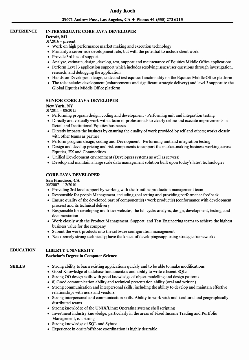 Core Java Developer Resume Lovely Core Java Developer Resume Samples