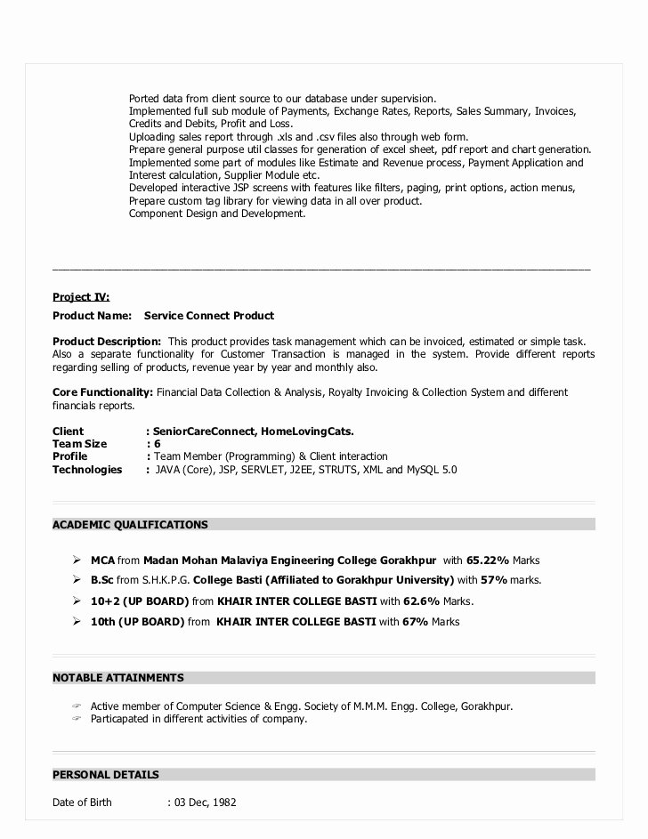 Core Java Developer Resume Lovely Resume for Java Devloper
