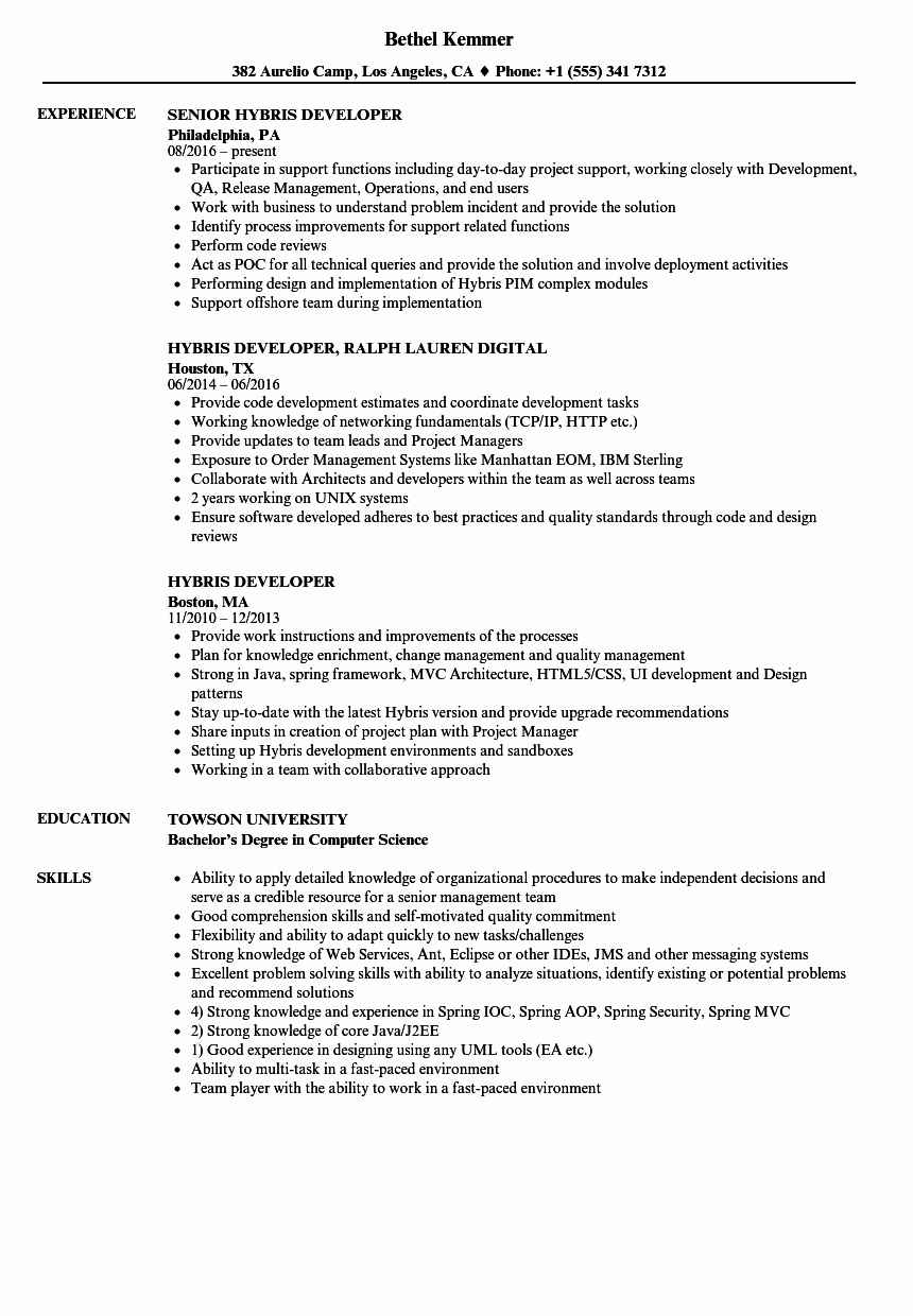Core Java Developer Resume Luxury Hybris Developer Resume Samples