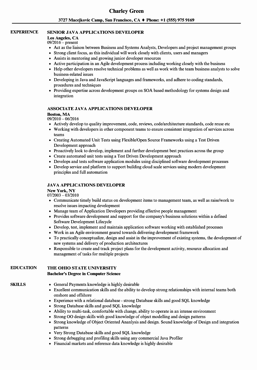 Core Java Developer Resume Luxury Java Applications Developer Resume Samples