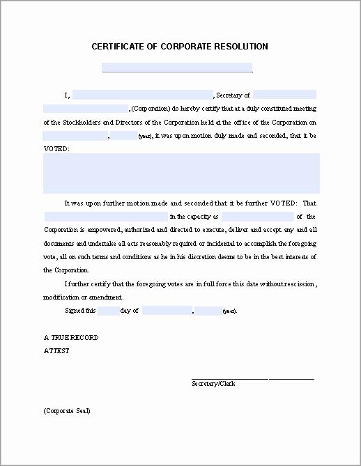 Corporate Resolution Template Microsoft Word Best Of Certificate Of Corporate Resolution