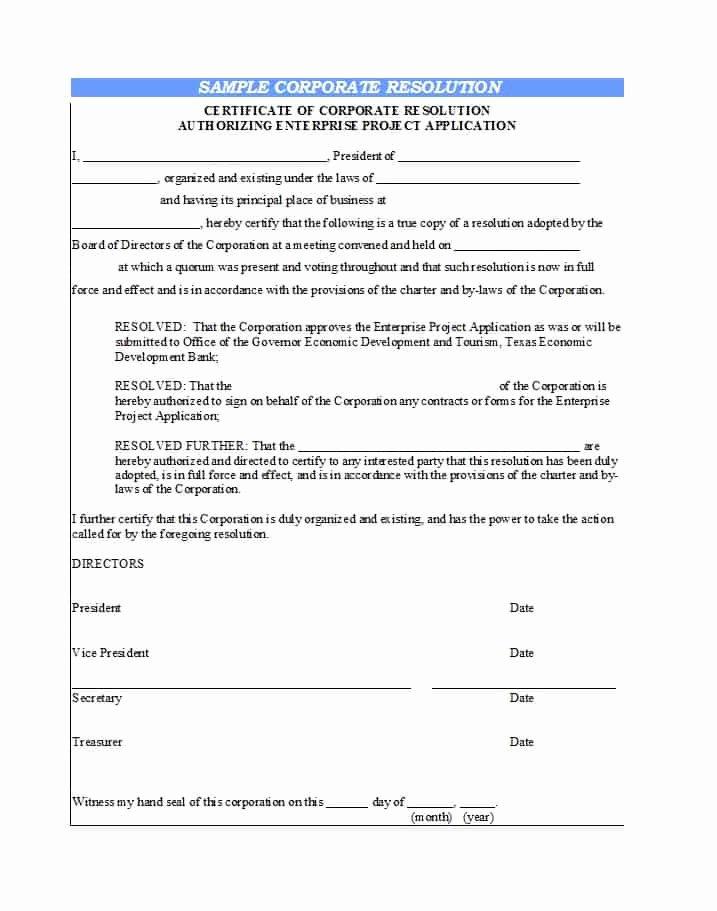 Corporate Resolution Template Microsoft Word Elegant 37 Printable Corporate Resolution forms Template Lab