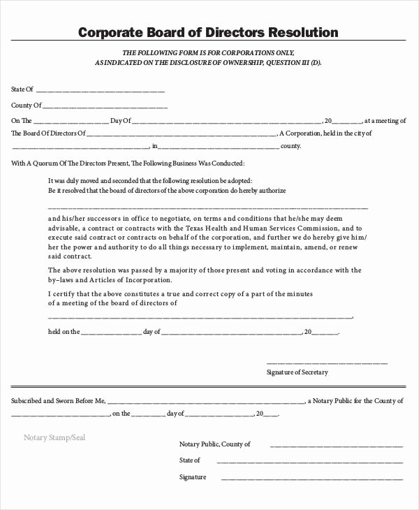 Corporate Resolution Template Microsoft Word Lovely Corporate Resolution form 7 Free Word Pdf Documents Download
