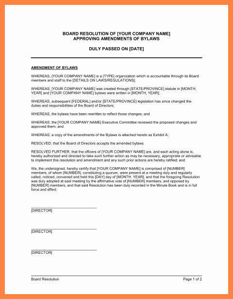 Corporate Resolution Template Microsoft Word New 9 Pany bylaws Template