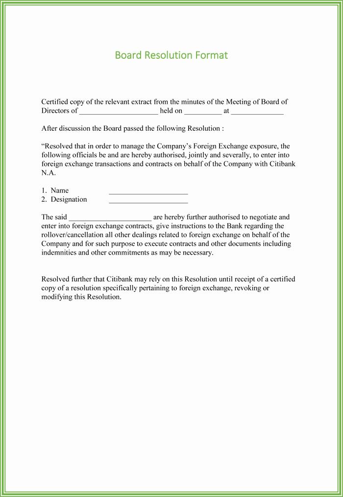 Corporate Resolution Template Microsoft Word New Board Resolution Templates 4 Samples for Word and Pdf