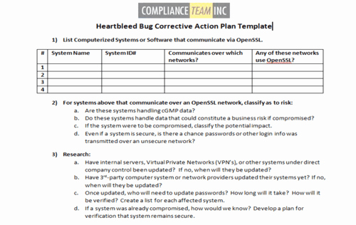 Corrective Action Plan Template Beautiful Heartbleed Bug Corrective Action Plan Template Pliance Team Inc