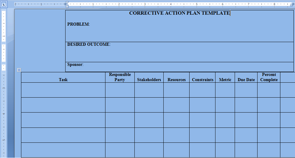 Corrective Action Plan Template Excel Lovely Corrective Action Plan Template Word Project Management Excel Templates