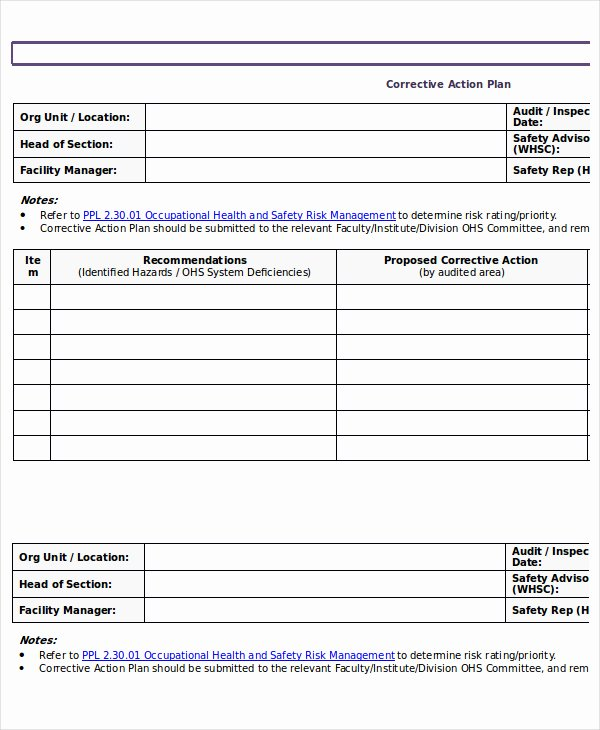 Corrective Action Plan Template Word Best Of Action Plan Template 15 Emergency Corrective Incident Template Section