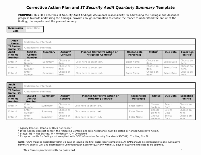 Corrective Action Plan Template Word Fresh Corrective Action Plan In Word and Pdf formats