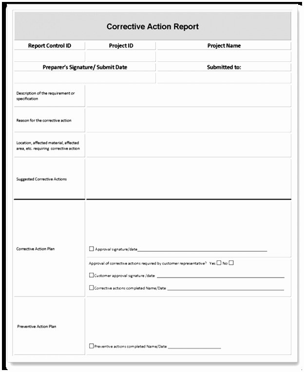 Corrective Action Report Examples Unique 7 Capa form Template Free Aauoa