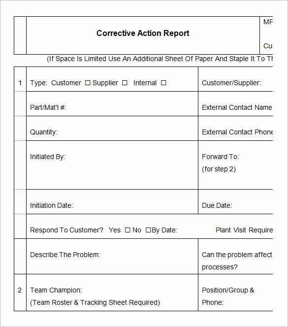 Corrective Action Report Sample Elegant 9 Corrective Action Report Templates Free Word Pdf