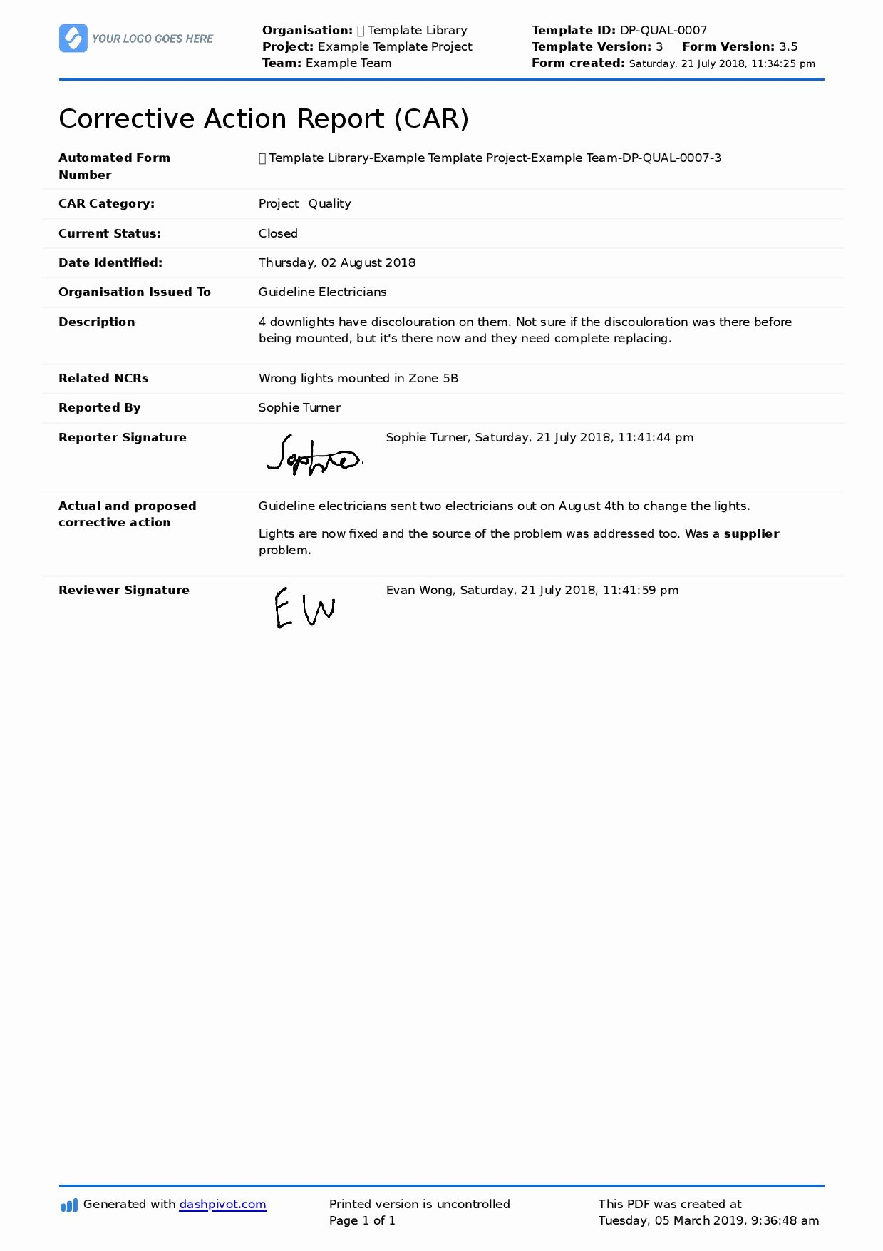 Corrective Action Report Sample Lovely Corrective and Preventive Action Example Usable Examples