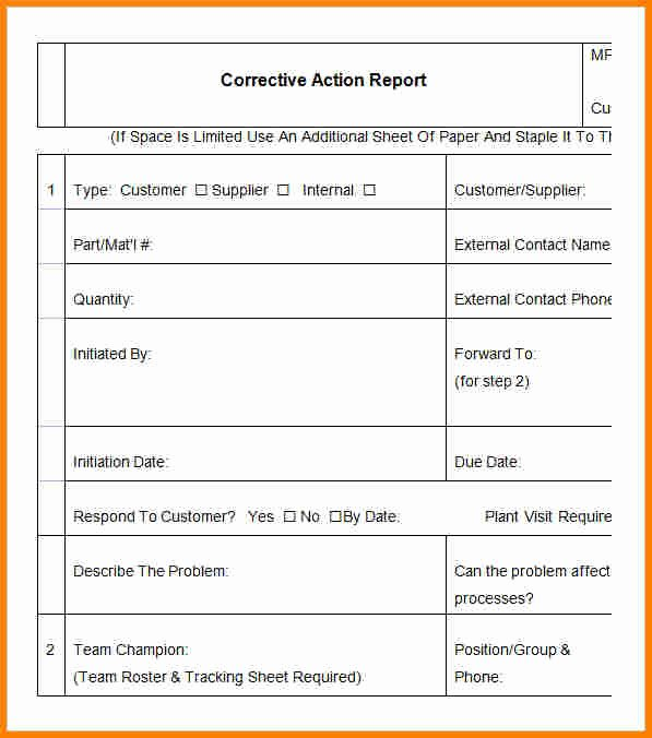 Corrective Action Report Sample Luxury 9 Corrective Action Report Template