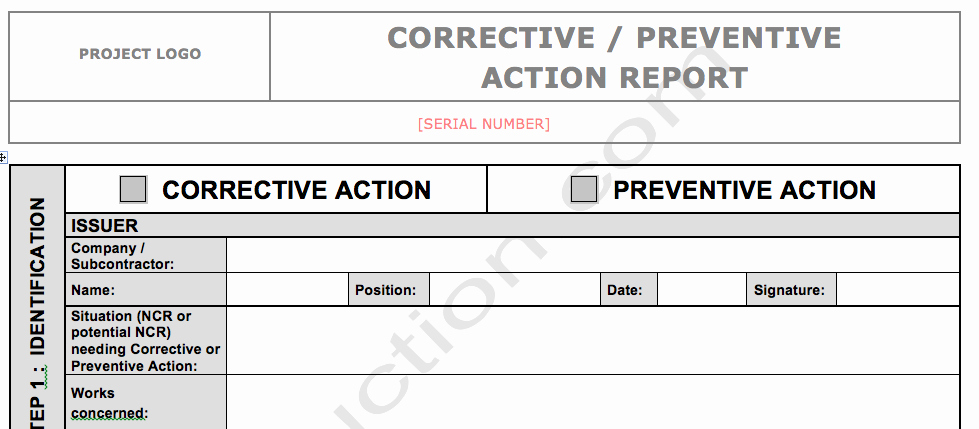 Corrective Action Report Template Awesome Corrective Action Report Template form 6 – Guatemalago