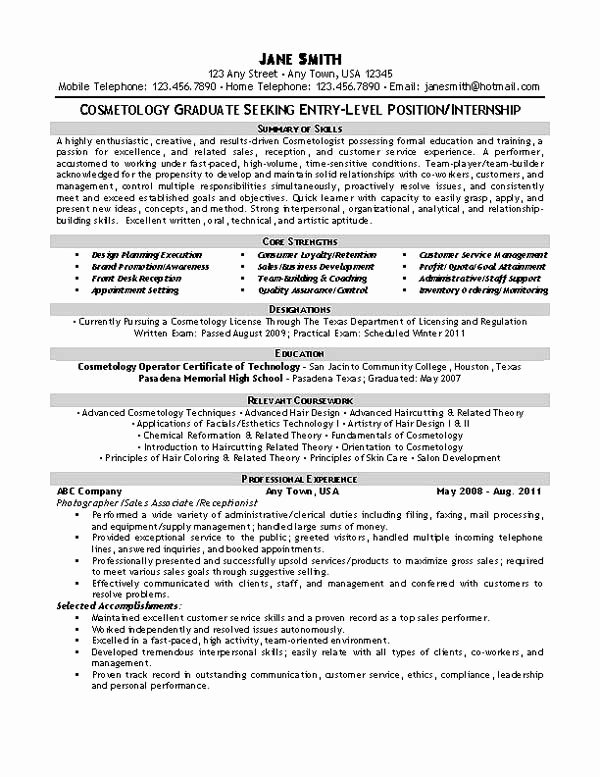 Cosmetology Resume Templates Free Beautiful Beautician Cosmetologist Resume Example