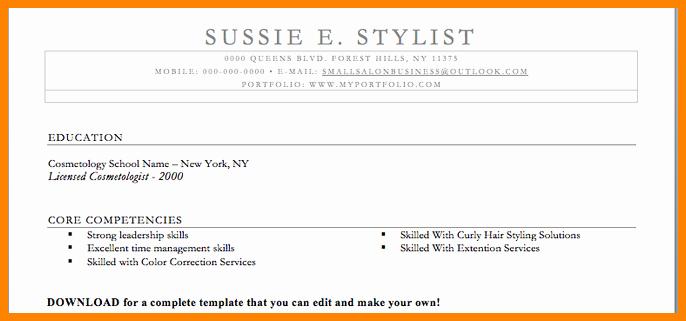Cosmetology Resume Templates Free Fresh 5 Cosmetology Resume Templates Free