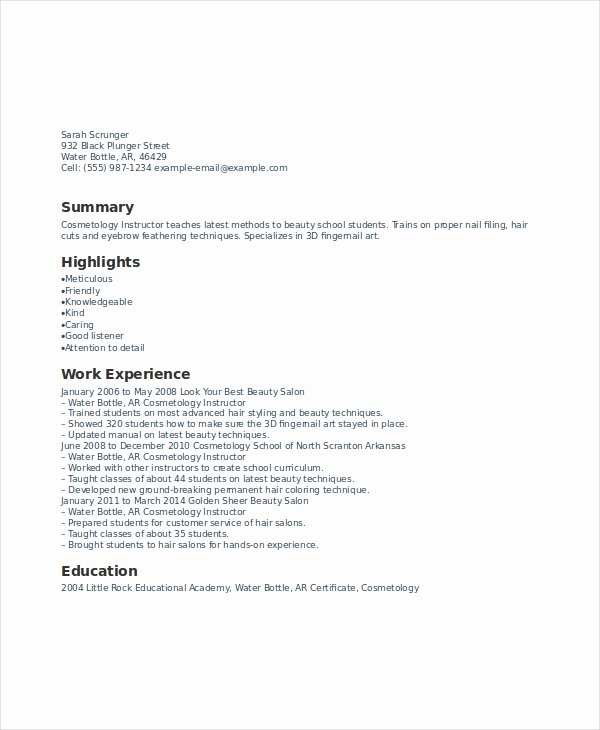 Cosmetology Resume Templates Free Lovely 6 Cosmetology Resume Templates Pdf Doc