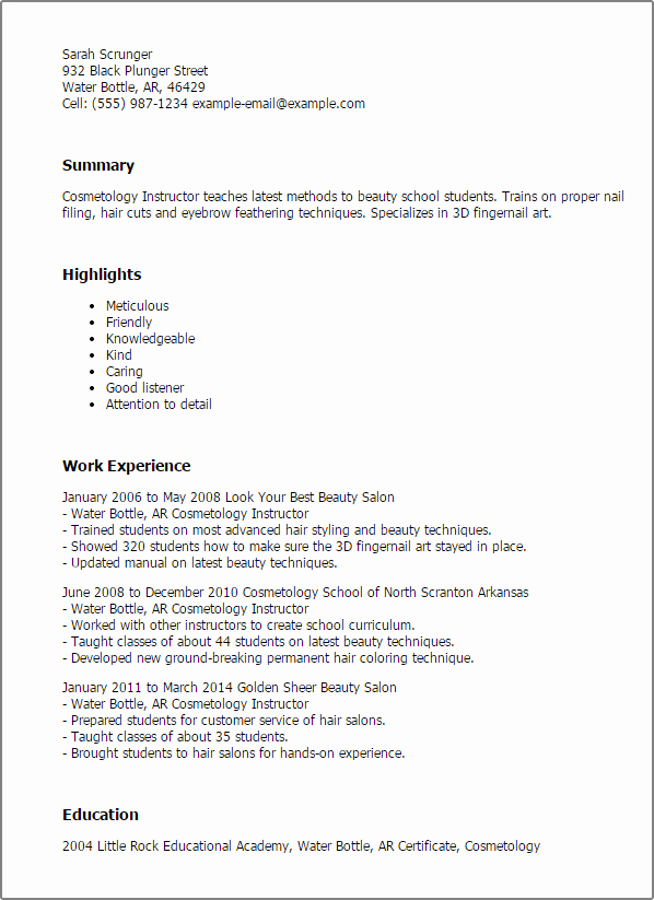 Cosmetology Resume Templates Free Lovely Professional Cosmetology Instructor Templates to Showcase Your Talent