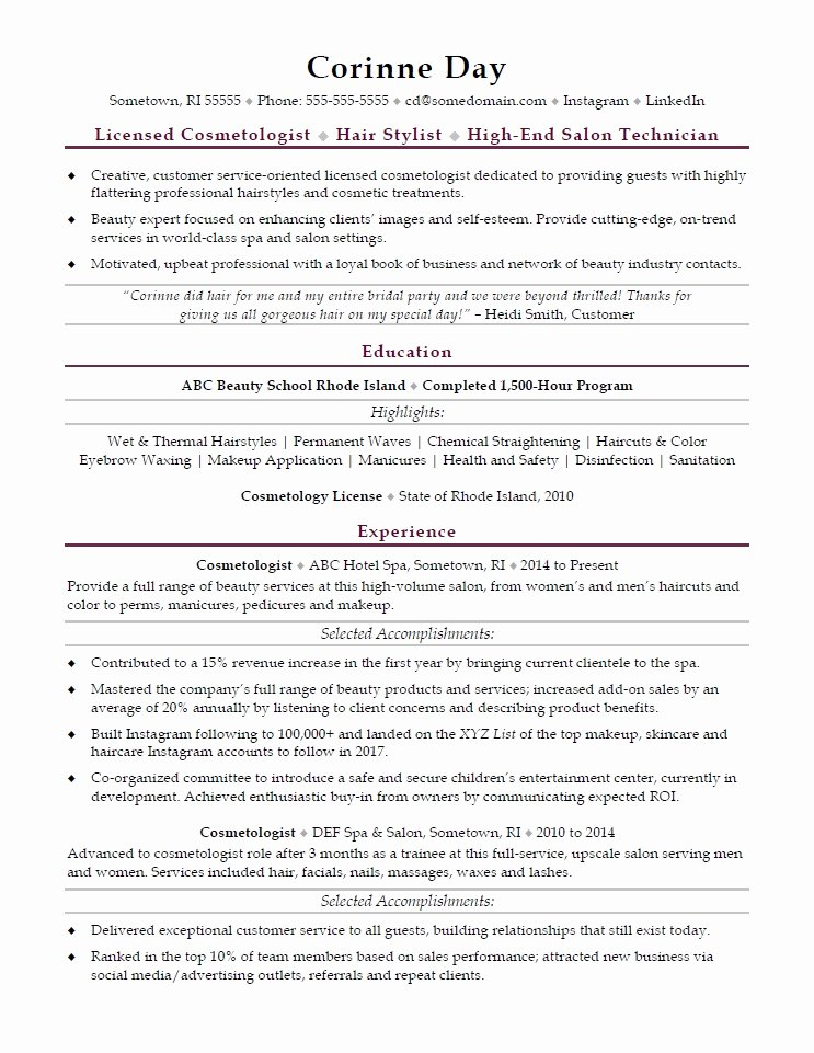 Cosmetology Resume Templates Free New Cosmetologist Resume Sample