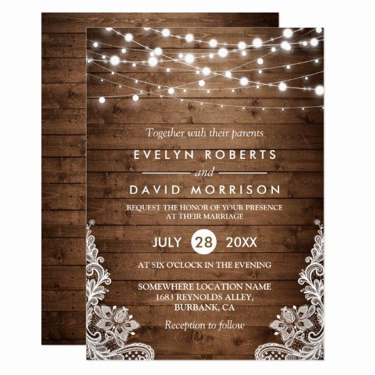 Country Wedding Invitations Templates Free Beautiful Rustic Country Wood Twinkle Lights Lace Wedding Invitation