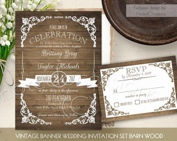 rustic wedding invitation printable set