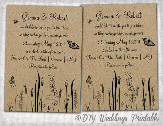 Country Wedding Invitations Templates Free Beautiful Rustic Wedding Invitations Template Editable butterfly