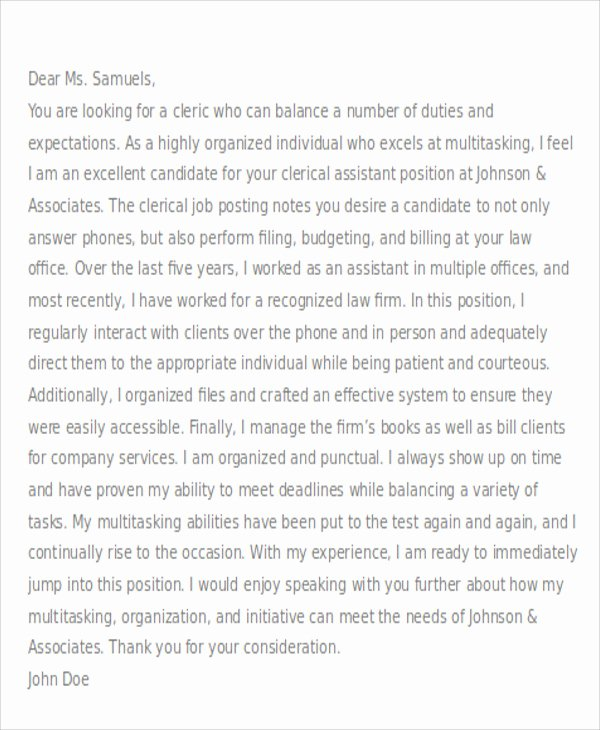 Cover Letter for Clerical Position Fresh Clerical Cover Letter 10 Free Word Pdf format Download