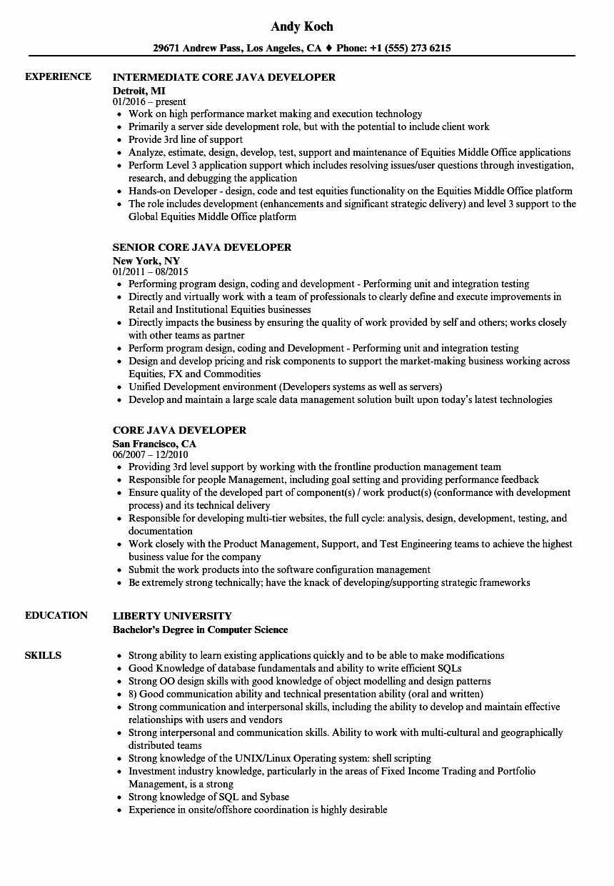 Cover Letter for Java Developer Best Of Java Developer Resume Java Developer Sample Rumes Download Resume format Templates Senior