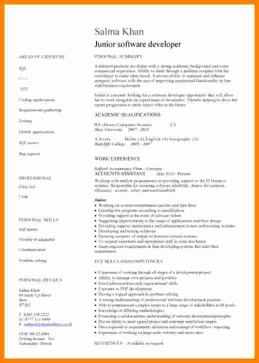 5 junior java developer resume
