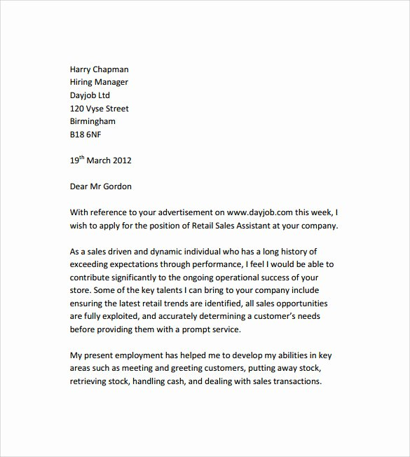 Cover Letter for Retail Awesome Sample Retail Cover Letter Template 9 Download Free Documents In Pdf Word
