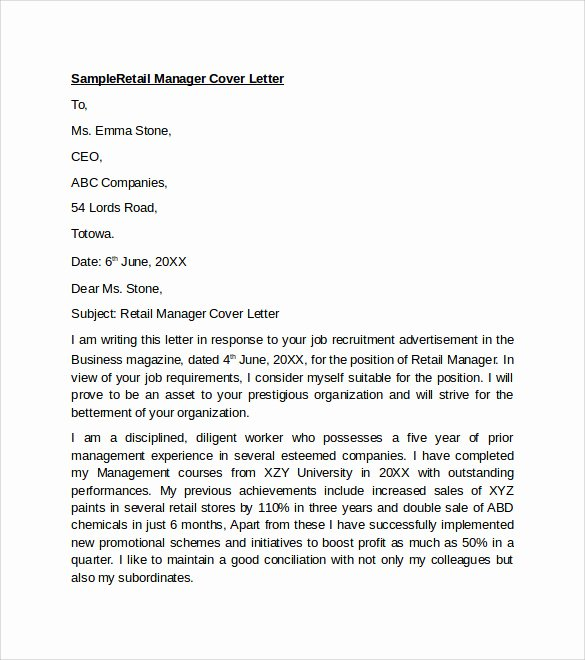Cover Letter for Retail Luxury Sample Retail Cover Letter Template 9 Download Free Documents In Pdf Word