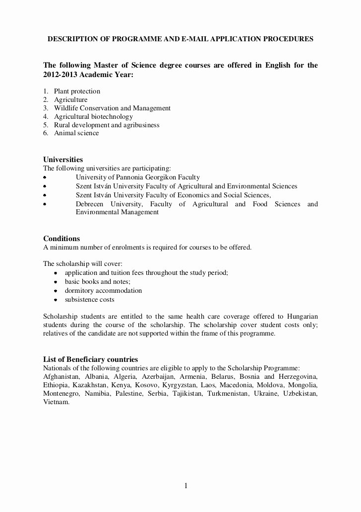 Cover Letter for Scholarship Awesome Fao Scholarships 2012 2013