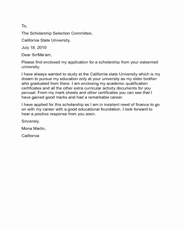 Cover Letter for Scholarship Awesome Scholarship Cover Letter Sample Edit Fill Sign Line