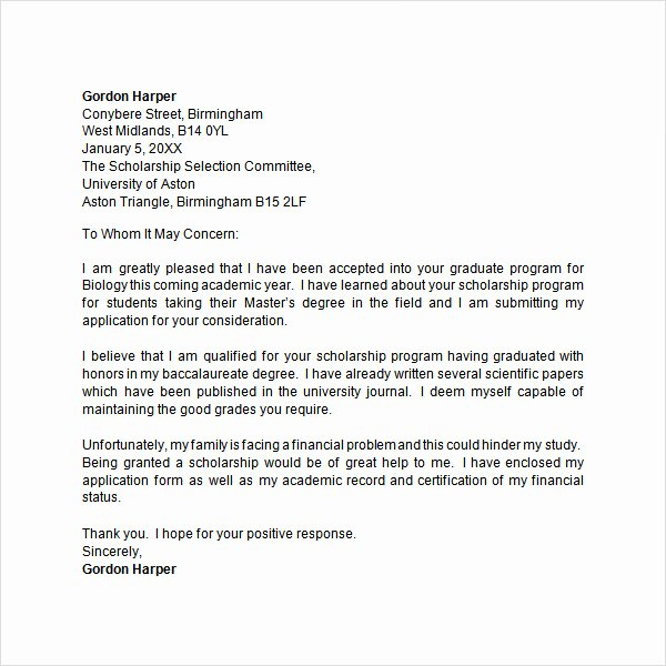Cover Letter for Scholarship Elegant Application Letter 9 Free Doc Download