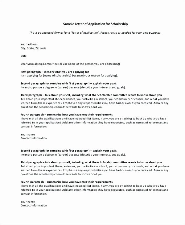 Cover Letter for Scholarship Lovely Scholarship Application Letter